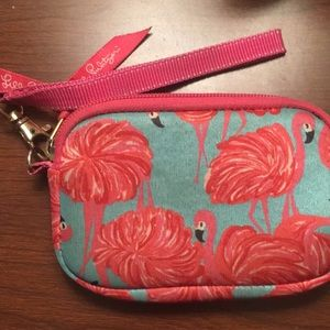 Lilly Pulitzer fan dance flamingo phone bag